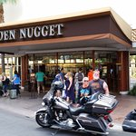 Another safe arrival at The Golden Nugget on the motorcycle