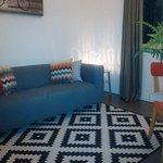 Cozy sofa inside the room