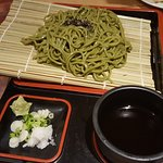 Cha soba, green tea noodle with soy dipping sauce
