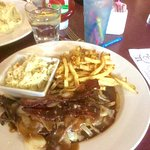 Liver and onions/bacon, fries and slaw