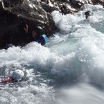 Coasteering (the person in the white helmet did reappear :-))