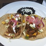 Carnitas tacos with mango salsa! Yum!
