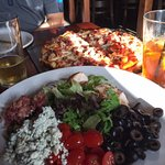 Cobb Salad & Union Station (meat) pizza - crust Brooklyn style