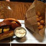 Burger and tots.  Excellent tots.  Prefer Au Cochon's (Birmingham) burger