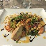 Salade au foie gras et homard