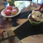 Birthday Cake and Raspberry macarons. Chocolate and Cookies and Cream gelato. Romeo & Juliet and