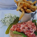 Lobster Roll with Fries and Cole Slaw