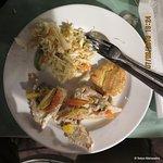 Fish, plantain, and salad.