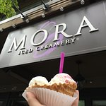 Creamy, decadent ice cream in too many flavored to choose from. The flavors are rich and fresh a