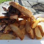 Pork belly sandwich with slaw