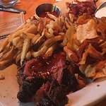 pulled pork, beef brisket, chips and fries