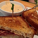 Reuben sandwich with Potato soup