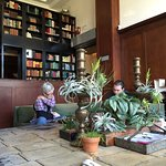 The hotel lobby - great for coworking, comes with a library.