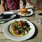 Pork Burger and lamb salad
