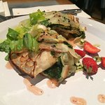 Crepes - Crêpe stuffed with spinach, roasted peppers and aubergines, cheese, hard-boiled egg, a