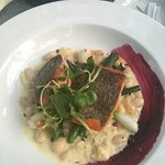 Most gorgeous sea trout and bean cassoulet