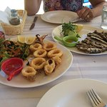 Lunch calamari and sardines