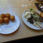 Croquettes and Caesar salad