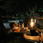 A top night time, romantic setting of the Caribbean, when dining.
