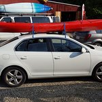 Kayak loaded on the car at Zoar
