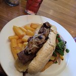 Steak baguette, cheese and onion pie and duck breast!