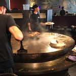 Mongolian barbecue.  Go through buffet, pick items you would like.
