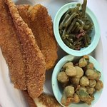 2 pc catfish with fried okra and green beans
