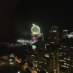 Full moon and fireworks line up from my room overlooking the Navy Pier.