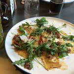 Ravioli with duck & sundries tomatoes & lemonade mojito