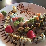 Variety of Sushi beautifully plated. Tastes as good as it looks.
