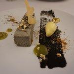 Black sesame semifreddo, white chocolate, green tea gel