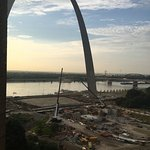 My view of construction and the Arch and my parking was down the street.
