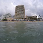 Hotel and beach from the ocean