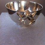 Silver frog bowl, handmade