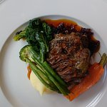 Watson's slow cooked ox cheek, sticky red cabbage and mashed potato