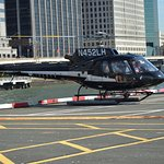 The helipad and helicopter