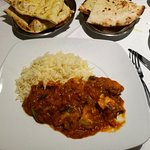 Chicken maharani (bottom one) and tapkee chicken (upper) with coconut rice and naan - delicious!