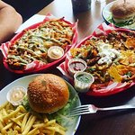 Burger, Dirty fries and Nachos