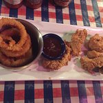 Chicken and waffles and chicken fingers with onion rings :)