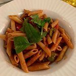 Vegetarian pasta with tomato sauce. Great taste, well cooked vegetables and more than satisfying