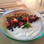 Yogurt with housemade granola and fresh fruit
