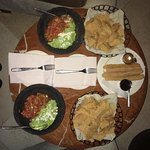 Guacamole and chips, Churros with dipping sauces
