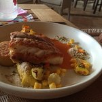 Grilled sea bass with roasted vegetables