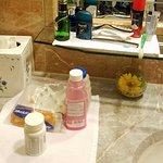 Love the little cloths placed under our toiletries.