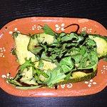 kalte, gegrillte zucchini mit Knoblauch und Ruccola 1/2 Frango piri piri (scharfes gegrilltes Hä