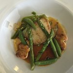 Grilled fillets of brill, ragout of lobster asparagus and leeks.