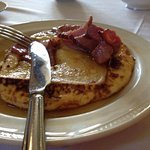 Lovely breakfast- french toast, crispy bacon and maple syrup