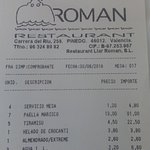 Cuenta. Puede verse que el precio del agua mineral de un litro es de 2,20 euros