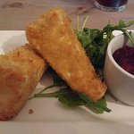 Deep fried brie with cranberry sauce.