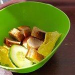 'fridge cold dog sausage on a salad bed???